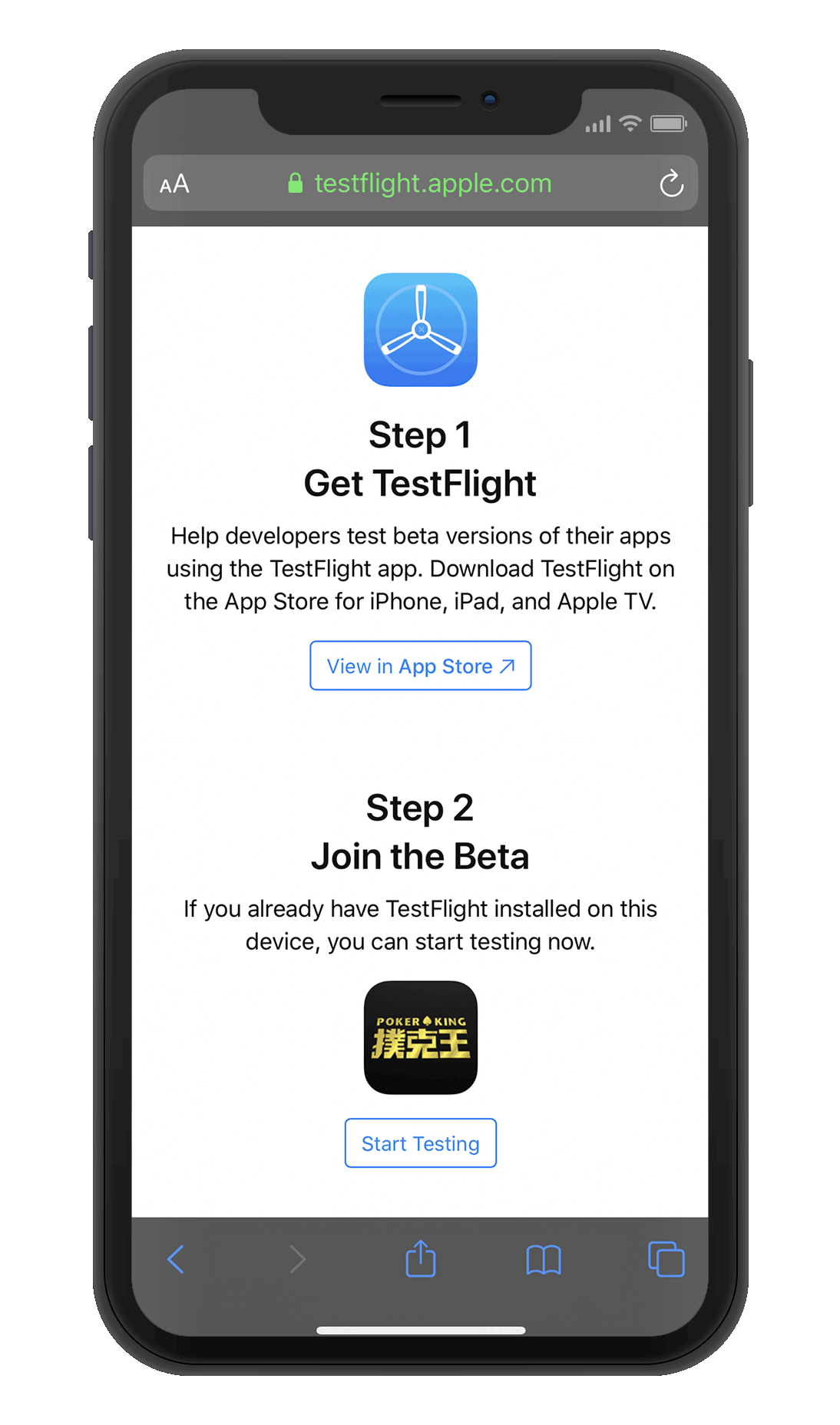 """Download """"Testflight"""" from the app store"""